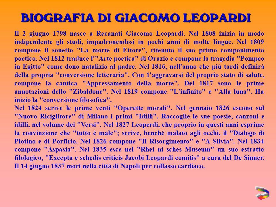 Il 2 giugno 1798 nasce a Recanati Giacomo Leopardi.