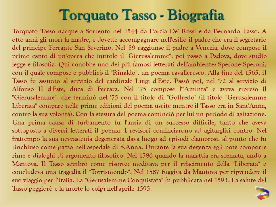 Torquato Tasso nacque a Sorrento nel 1544 da Porzia De Rossi e da Bernardo Tasso.