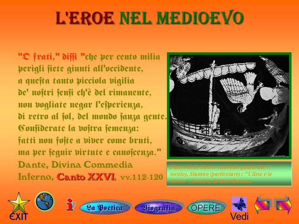 L EROE NEL MEDIOEVO OPERE Vedi Pittore delle Sirene (secondo quarto del V secolo), Stamno (particolare) : Ulisse e le Sirene , Londra, British Museum