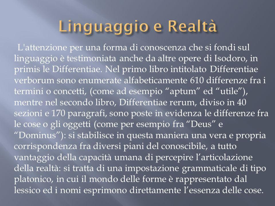 L'attenzione per una forma di conoscenza che si fondi sul linguaggio è testimoniata anche da altre opere di Isodoro, in primis le Differentiae. Nel pr
