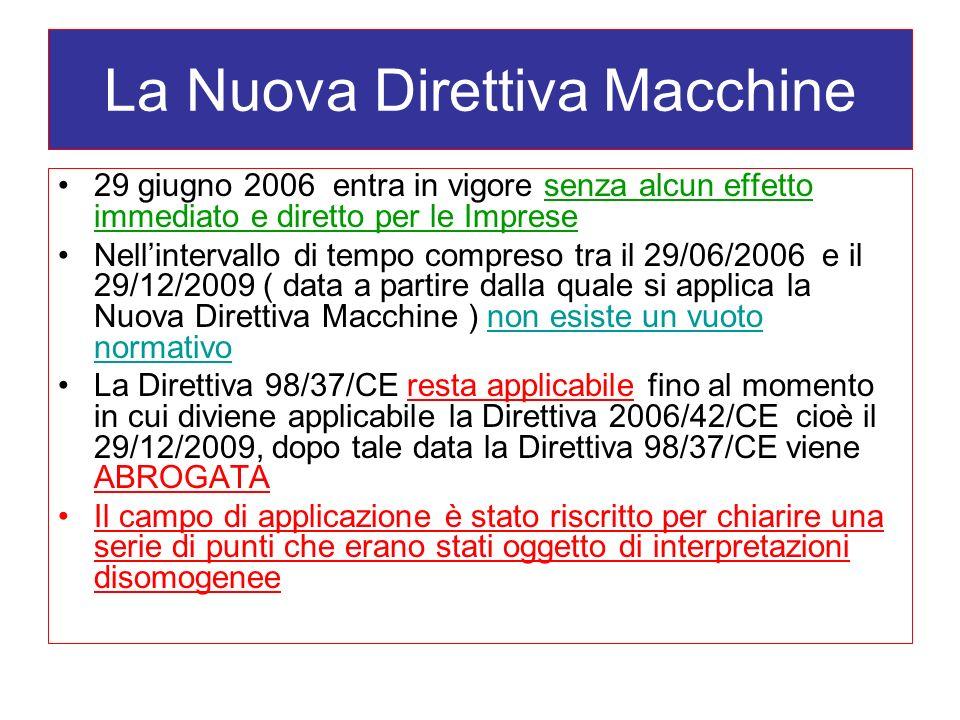 La Nuova Direttiva Macchine 29 giugno 2006 entra in vigore senza alcun effetto immediato e diretto per le Imprese Nellintervallo di tempo compreso tra il 29/06/2006 e il 29/12/2009 ( data a partire dalla quale si applica la Nuova Direttiva Macchine ) non esiste un vuoto normativo La Direttiva 98/37/CE resta applicabile fino al momento in cui diviene applicabile la Direttiva 2006/42/CE cioè il 29/12/2009, dopo tale data la Direttiva 98/37/CE viene ABROGATA Il campo di applicazione è stato riscritto per chiarire una serie di punti che erano stati oggetto di interpretazioni disomogenee