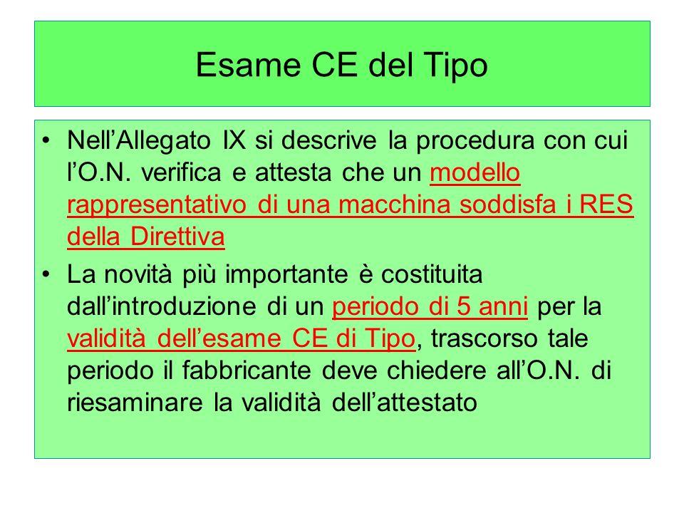 Esame CE del Tipo NellAllegato IX si descrive la procedura con cui lO.N.