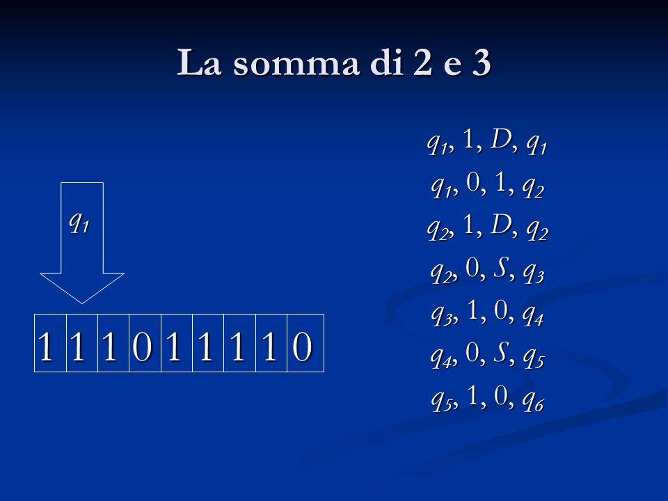 La somma di 2 e 3 q 1 q 1 1 1 1 0 1 1 1 1 0 q 1, 1, D, q 1 q 1, 0, 1, q 2 q 2, 1, D, q 2 q 2, 0, S, q 3 q 3, 1, 0, q 4 q 4, 0, S, q 5 q 5, 1, 0, q 6