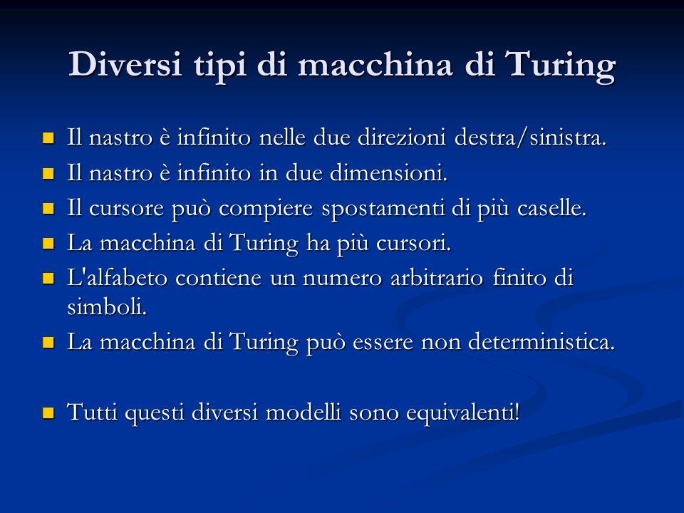 Diversi tipi di macchina di Turing Il nastro è infinito nelle due direzioni destra/sinistra. Il nastro è infinito nelle due direzioni destra/sinistra.