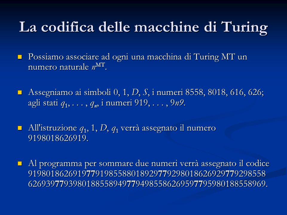 La codifica delle macchine di Turing Possiamo associare ad ogni una macchina di Turing MT un numero naturale n MT. Possiamo associare ad ogni una macc