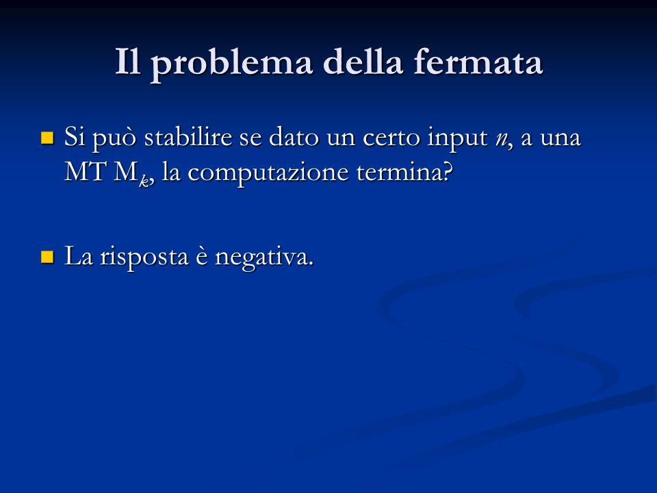 Il problema della fermata Si può stabilire se dato un certo input n, a una MT M k, la computazione termina? Si può stabilire se dato un certo input n,
