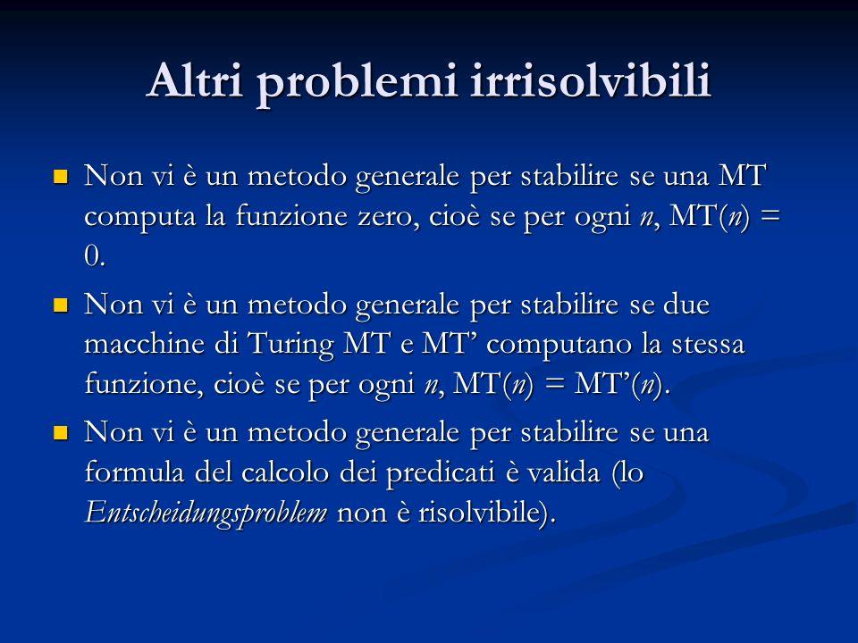 Altri problemi irrisolvibili Non vi è un metodo generale per stabilire se una MT computa la funzione zero, cioè se per ogni n, MT(n) = 0. Non vi è un