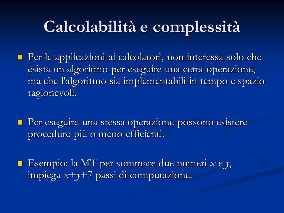 Calcolabilità e complessità Per le applicazioni ai calcolatori, non interessa solo che esista un algoritmo per eseguire una certa operazione, ma che l