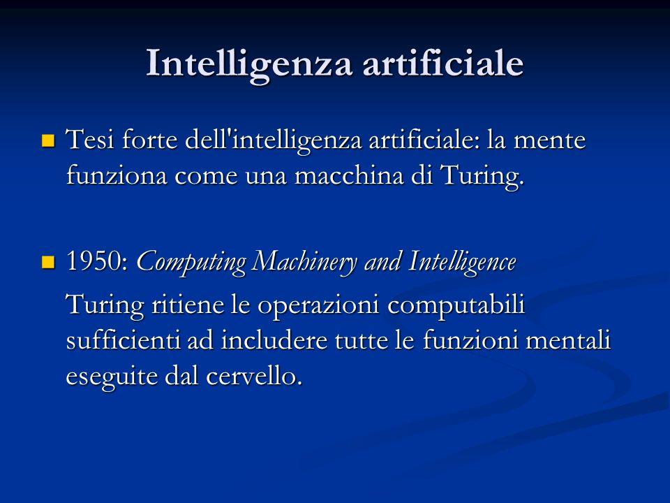 Intelligenza artificiale Tesi forte dell'intelligenza artificiale: la mente funziona come una macchina di Turing. Tesi forte dell'intelligenza artific