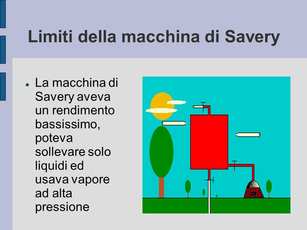 Limiti della macchina di Savery La macchina di Savery aveva un rendimento bassissimo, poteva sollevare solo liquidi ed usava vapore ad alta pressione