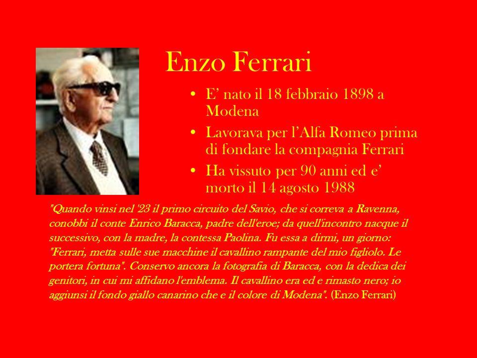 Enzo Ferrari E nato il 18 febbraio 1898 a Modena Lavorava per lAlfa Romeo prima di fondare la compagnia Ferrari Ha vissuto per 90 anni ed e morto il 1