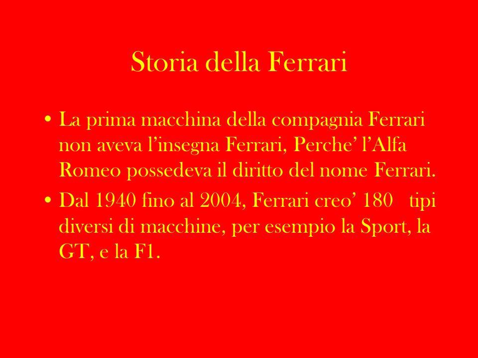 Importanza della Ferrari La compagnia Ferrari e sempre stata avvanzata nella tecnologia e lo stile.