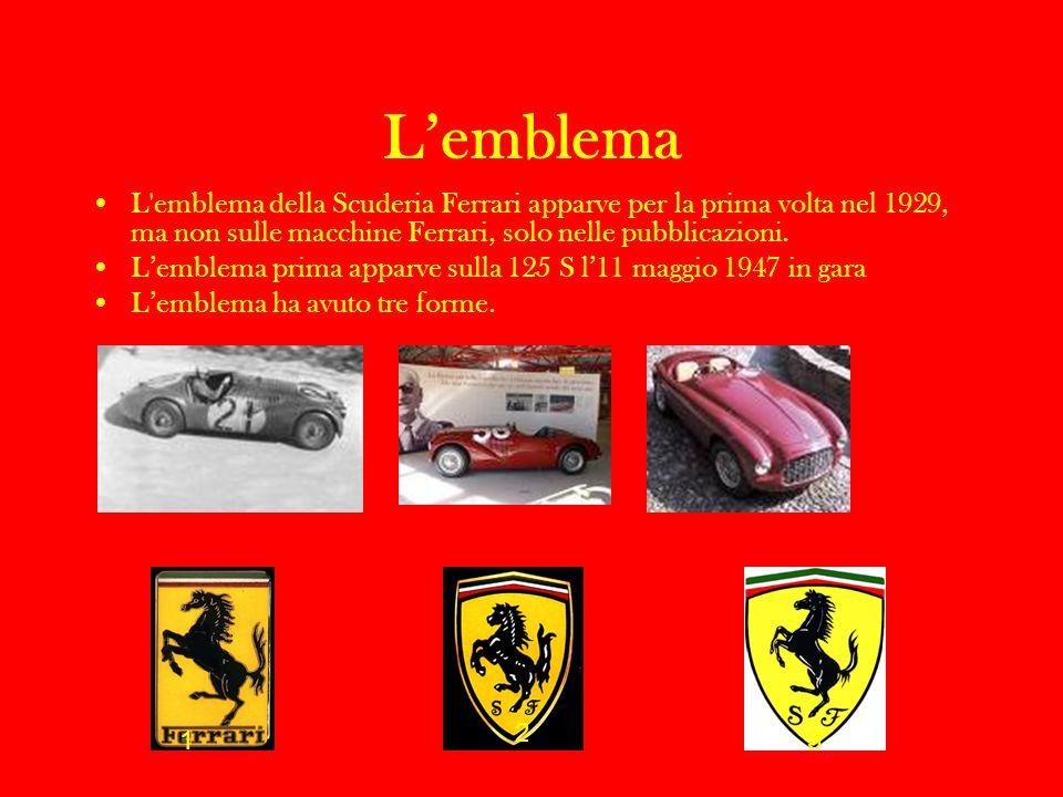 Lemblema L'emblema della Scuderia Ferrari apparve per la prima volta nel 1929, ma non sulle macchine Ferrari, solo nelle pubblicazioni. Lemblema prima