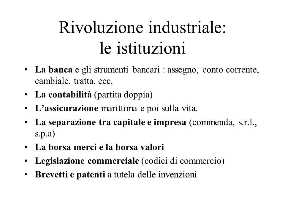 Rivoluzione industriale: le istituzioni La banca e gli strumenti bancari : assegno, conto corrente, cambiale, tratta, ecc. La contabilità (partita dop