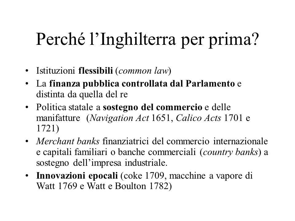 Perché lInghilterra per prima? Istituzioni flessibili (common law) La finanza pubblica controllata dal Parlamento e distinta da quella del re Politica