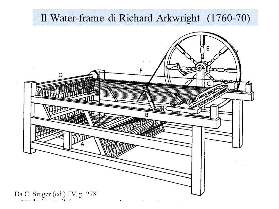 La spinning Jenny di Hargreaves (1760-70) Un solo lavorante poteva filare più fusi contemporaneamente: inizialmente aveva 8 fusi, poi fino a 80.