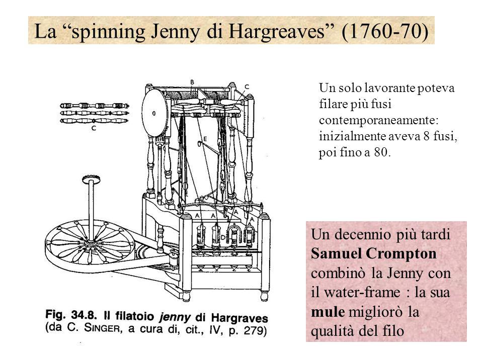 La spinning Jenny di Hargreaves (1760-70) Un solo lavorante poteva filare più fusi contemporaneamente: inizialmente aveva 8 fusi, poi fino a 80. Un de