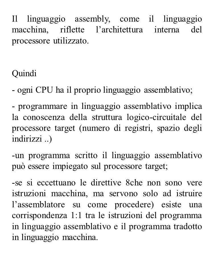 Il linguaggio assembly, come il linguaggio macchina, riflette larchitettura interna del processore utilizzato. Quindi - ogni CPU ha il proprio linguag