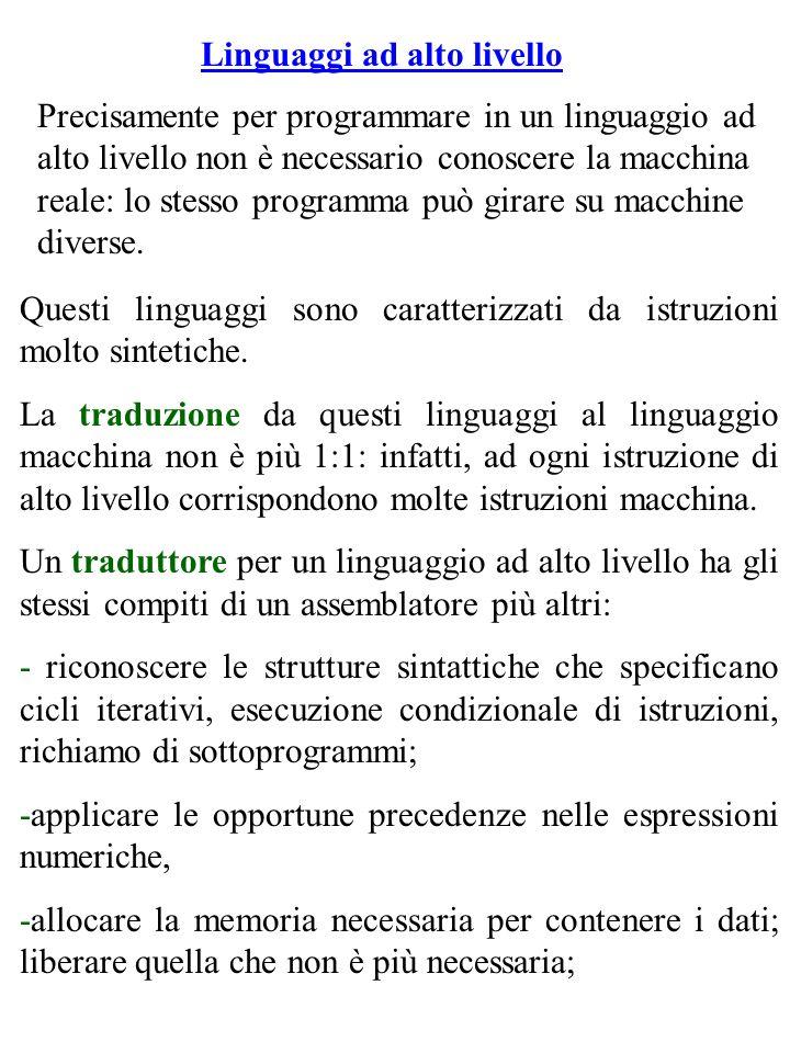 Linguaggi ad alto livello Precisamente per programmare in un linguaggio ad alto livello non è necessario conoscere la macchina reale: lo stesso programma può girare su macchine diverse.