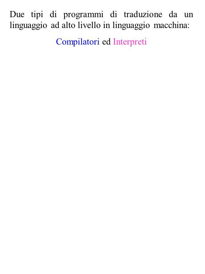 Due tipi di programmi di traduzione da un linguaggio ad alto livello in linguaggio macchina: Compilatori ed Interpreti