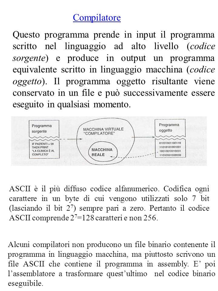 Compilatore Questo programma prende in input il programma scritto nel linguaggio ad alto livello (codice sorgente) e produce in output un programma equivalente scritto in linguaggio macchina (codice oggetto).