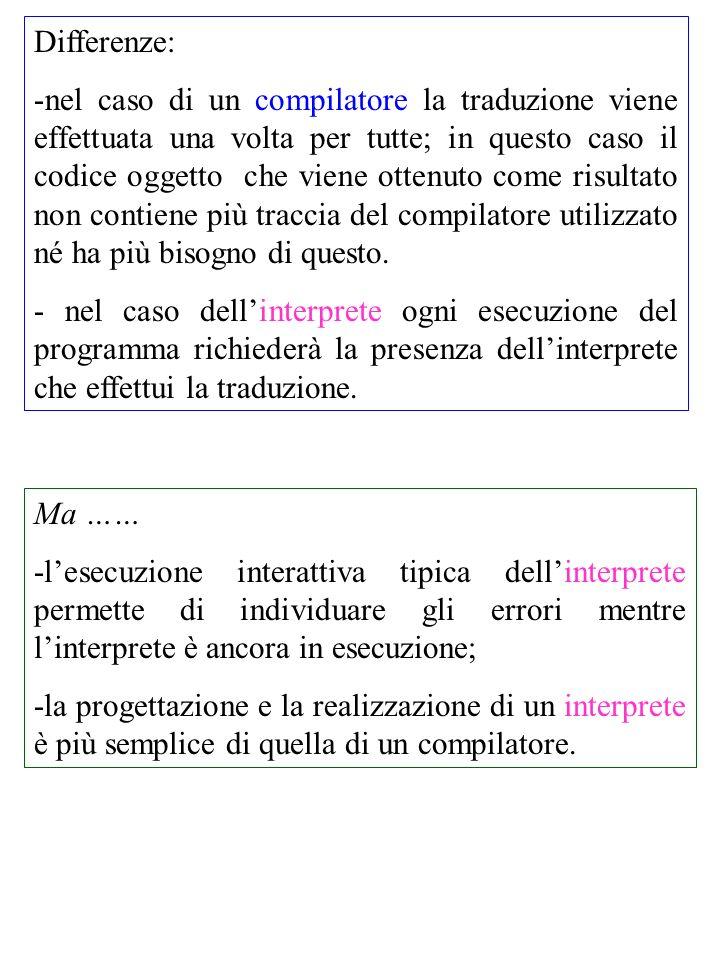 Differenze: -nel caso di un compilatore la traduzione viene effettuata una volta per tutte; in questo caso il codice oggetto che viene ottenuto come risultato non contiene più traccia del compilatore utilizzato né ha più bisogno di questo.