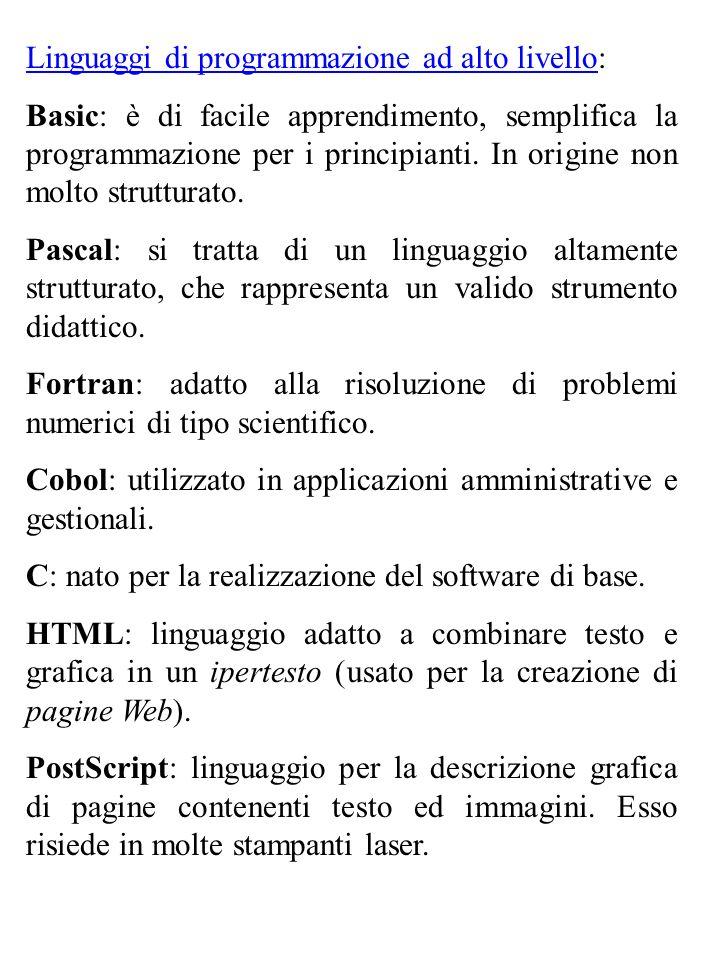 Linguaggi di programmazione ad alto livello: Basic: è di facile apprendimento, semplifica la programmazione per i principianti. In origine non molto s