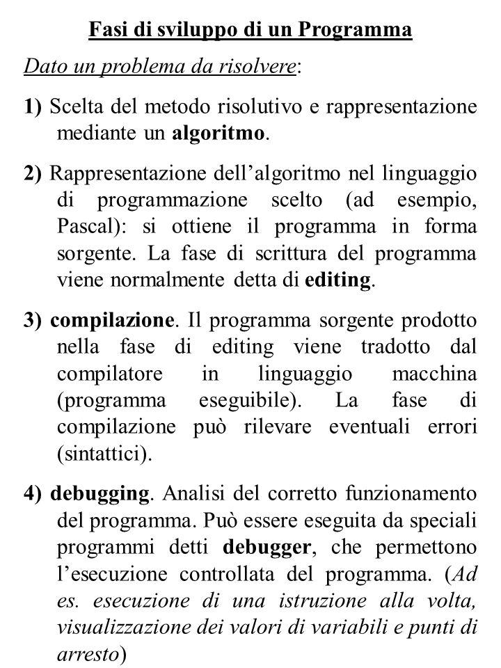 Fasi di sviluppo di un Programma Dato un problema da risolvere: 1) Scelta del metodo risolutivo e rappresentazione mediante un algoritmo. 2) Rappresen