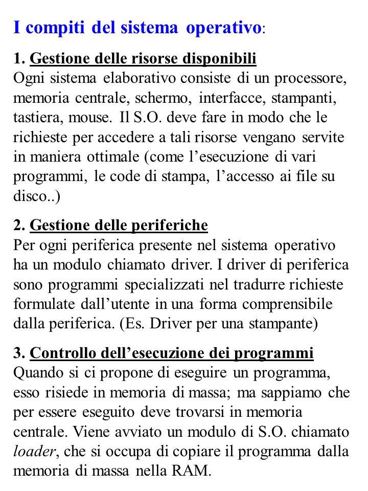 I compiti del sistema operativo : 1. Gestione delle risorse disponibili Ogni sistema elaborativo consiste di un processore, memoria centrale, schermo,