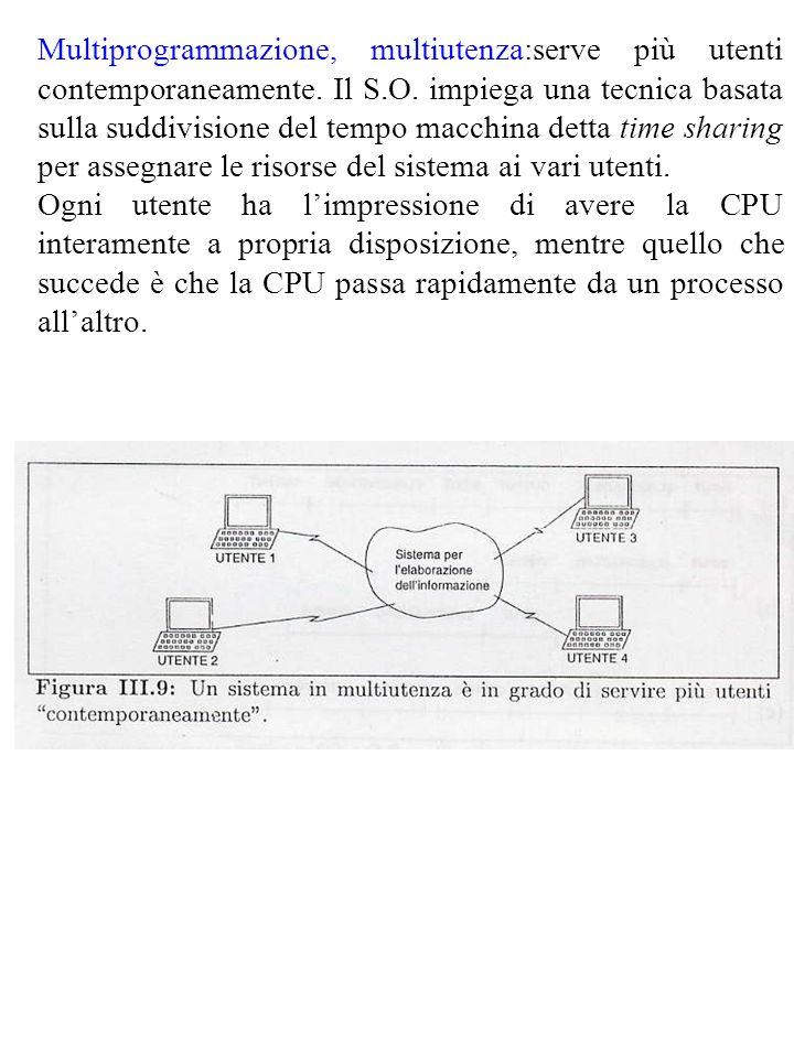 Multiprogrammazione, multiutenza:serve più utenti contemporaneamente. Il S.O. impiega una tecnica basata sulla suddivisione del tempo macchina detta t