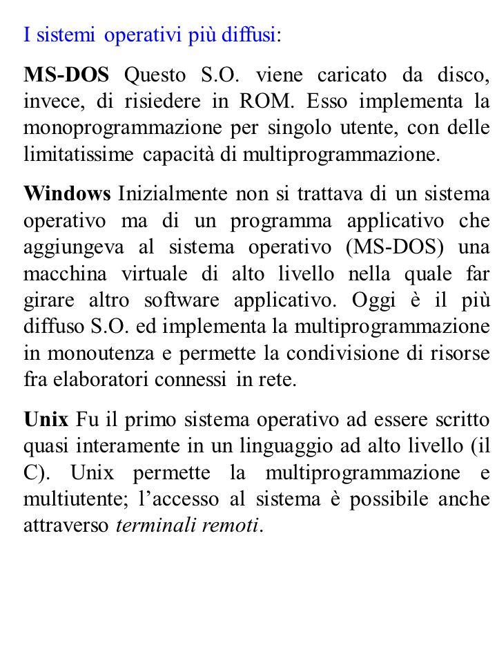 I sistemi operativi più diffusi: MS-DOS Questo S.O. viene caricato da disco, invece, di risiedere in ROM. Esso implementa la monoprogrammazione per si
