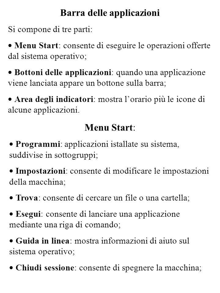 Barra delle applicazioni Si compone di tre parti: Menu Start: consente di eseguire le operazioni offerte dal sistema operativo; Bottoni delle applicaz