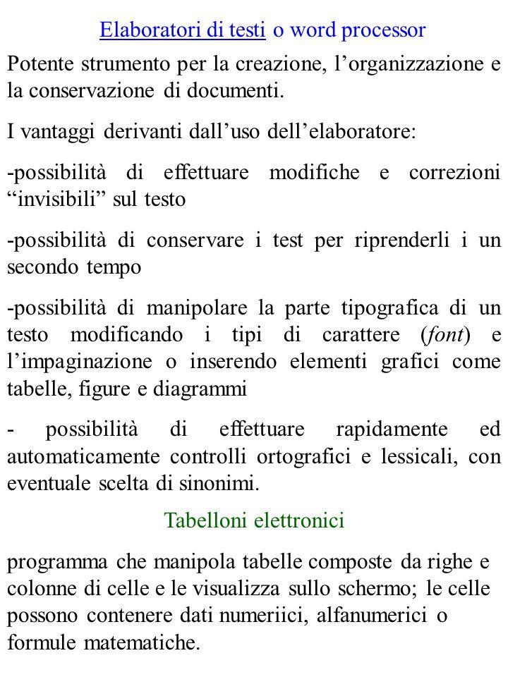 Elaboratori di testi o word processor Potente strumento per la creazione, lorganizzazione e la conservazione di documenti.