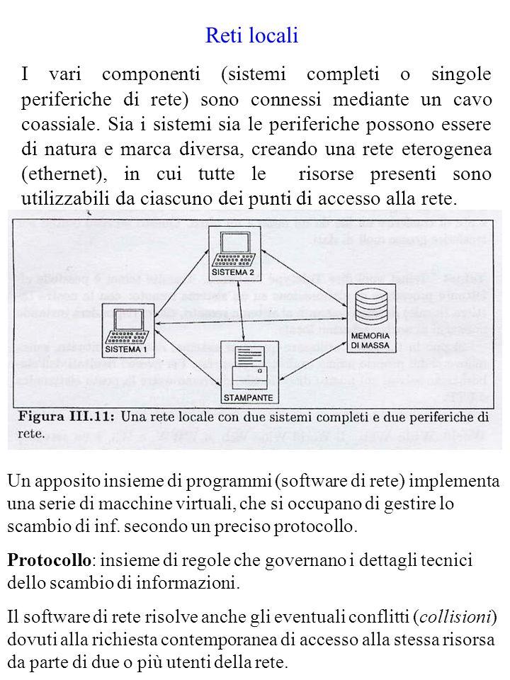 Reti locali I vari componenti (sistemi completi o singole periferiche di rete) sono connessi mediante un cavo coassiale. Sia i sistemi sia le periferi