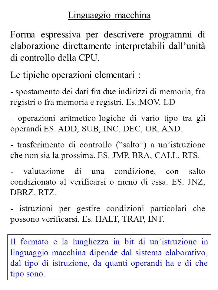Linguaggio macchina Forma espressiva per descrivere programmi di elaborazione direttamente interpretabili dallunità di controllo della CPU.