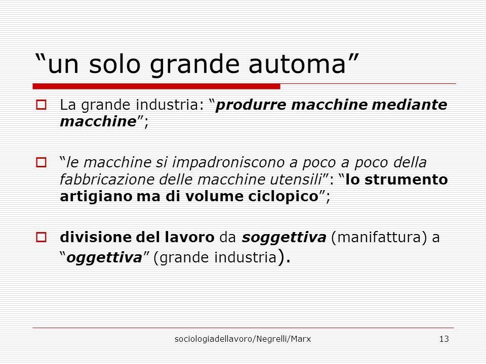 sociologiadellavoro/Negrelli/Marx13 un solo grande automa La grande industria: produrre macchine mediante macchine; le macchine si impadroniscono a po