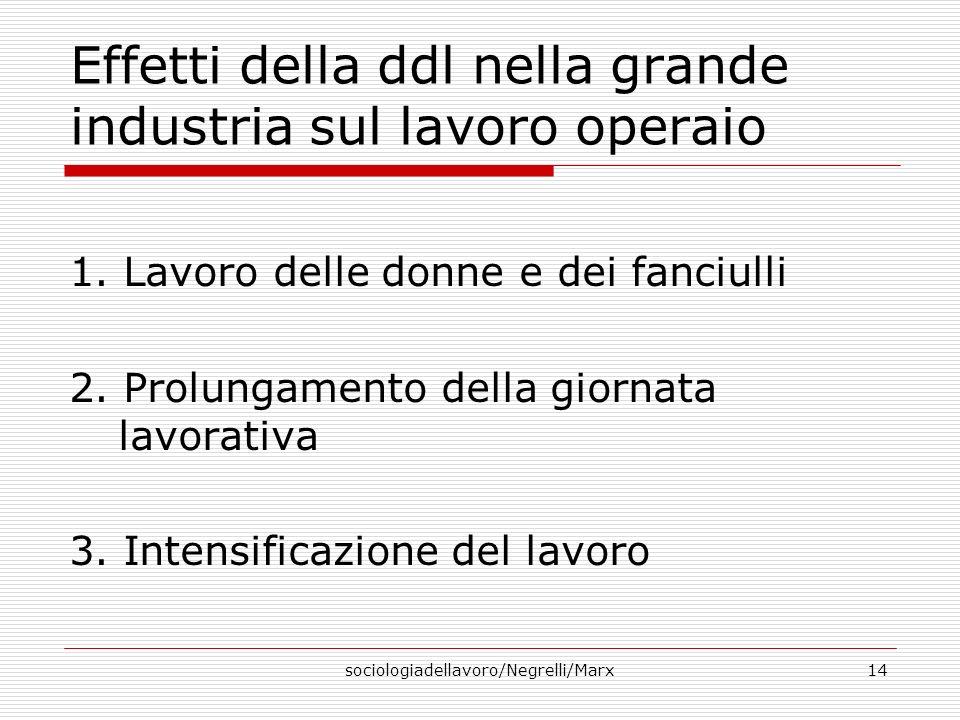 sociologiadellavoro/Negrelli/Marx14 Effetti della ddl nella grande industria sul lavoro operaio 1.