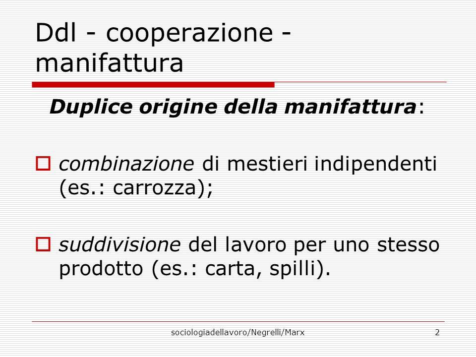 sociologiadellavoro/Negrelli/Marx2 Ddl - cooperazione - manifattura Duplice origine della manifattura: combinazione di mestieri indipendenti (es.: carrozza); suddivisione del lavoro per uno stesso prodotto (es.: carta, spilli).