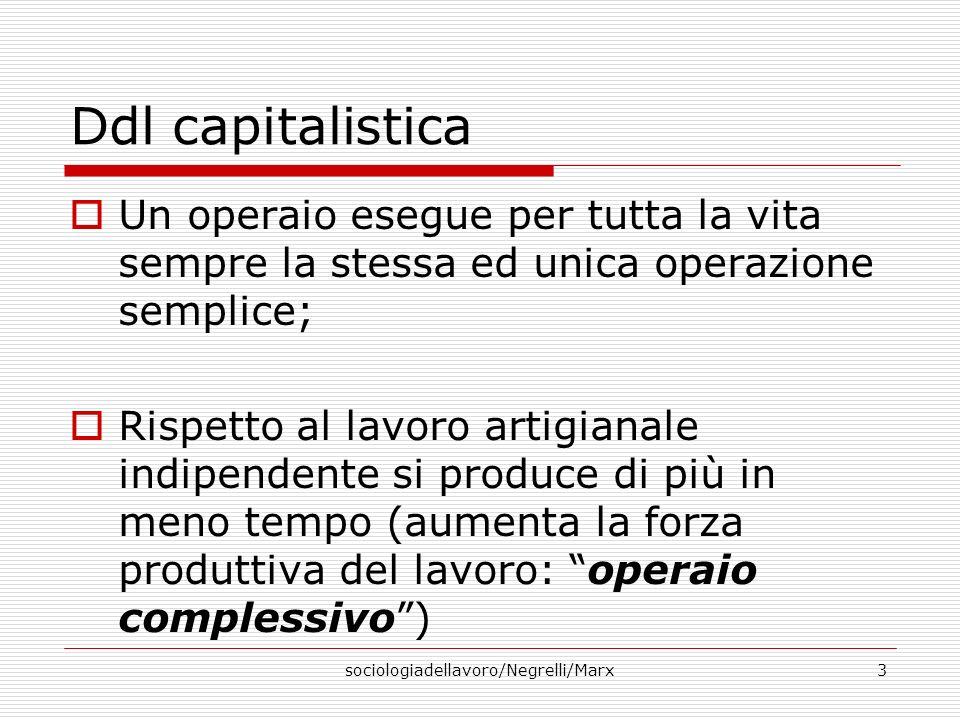 sociologiadellavoro/Negrelli/Marx3 Ddl capitalistica Un operaio esegue per tutta la vita sempre la stessa ed unica operazione semplice; Rispetto al la