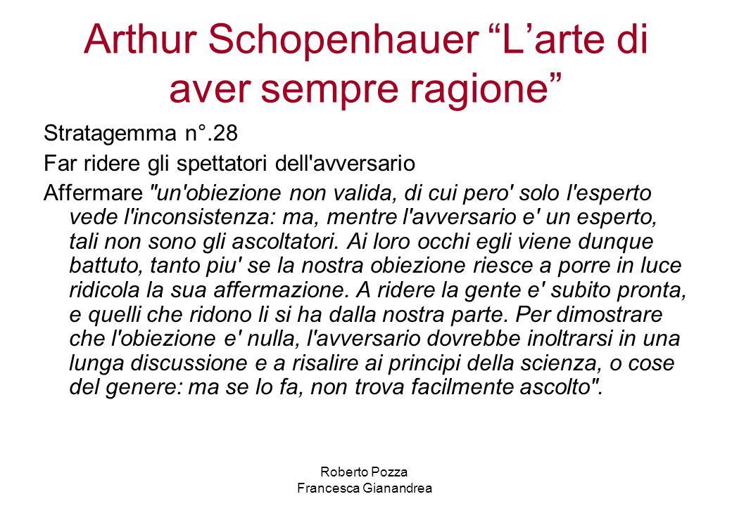 Arthur Schopenhauer Larte di aver sempre ragione Stratagemma n°.28 Far ridere gli spettatori dell'avversario Affermare