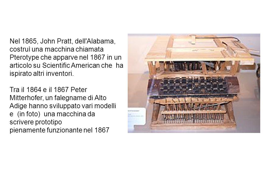 Nel 1865, John Pratt, dell'Alabama, costruì una macchina chiamata Pterotype che apparve nel 1867 in un articolo su Scientific American che ha ispirato
