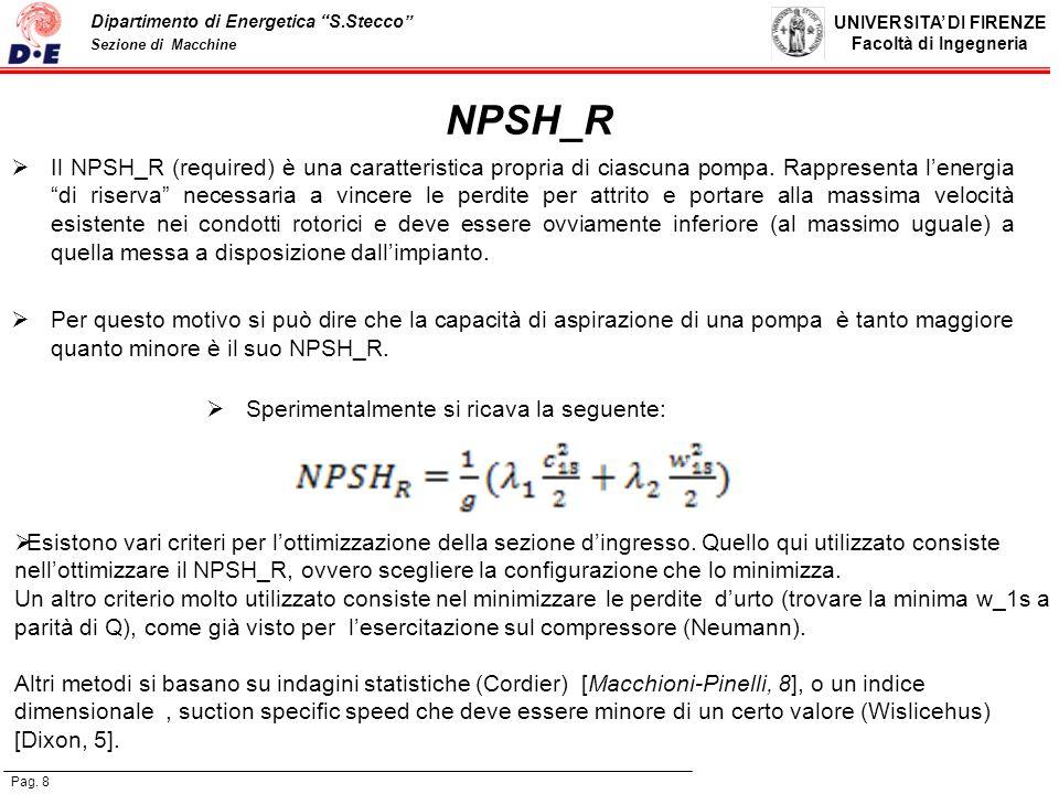 UNIVERSITA DI FIRENZE Facoltà di Ingegneria Pag. 8 Dipartimento di Energetica S.Stecco Sezione di Macchine NPSH_R Il NPSH_R (required) è una caratteri