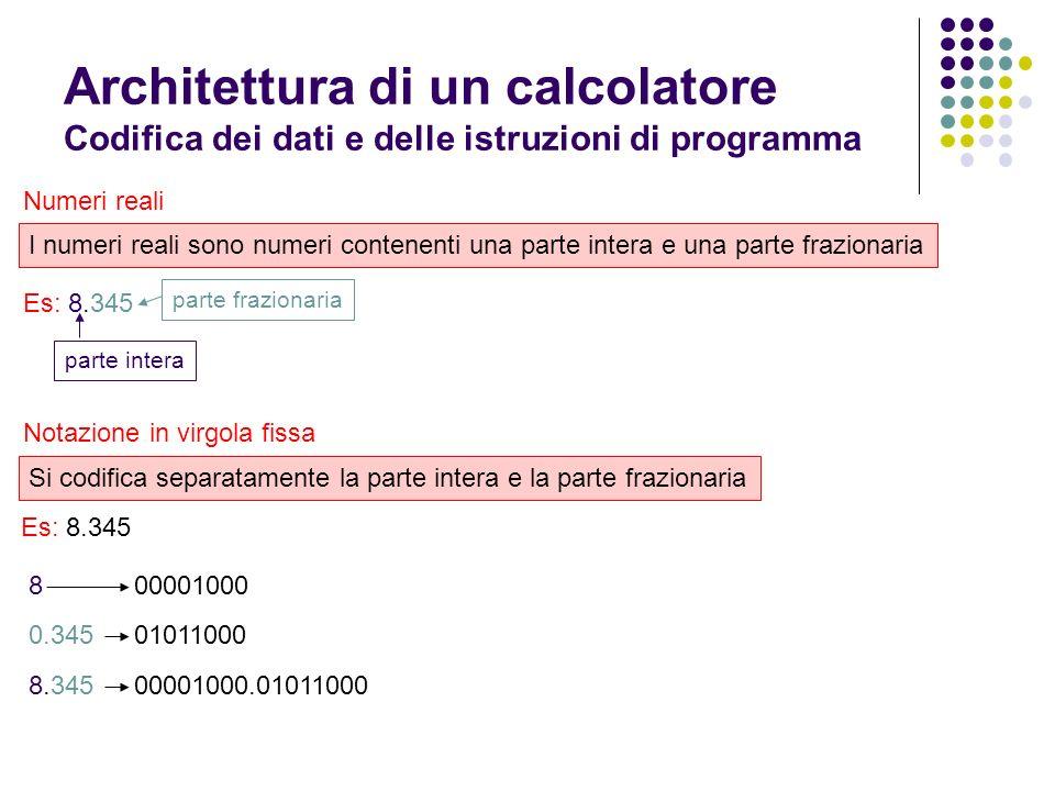 Architettura di un calcolatore Codifica dei dati e delle istruzioni di programma Numeri reali I numeri reali sono numeri contenenti una parte intera e