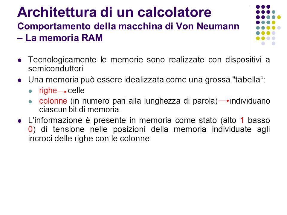 Tecnologicamente le memorie sono realizzate con dispositivi a semiconduttori Una memoria può essere idealizzata come una grossa