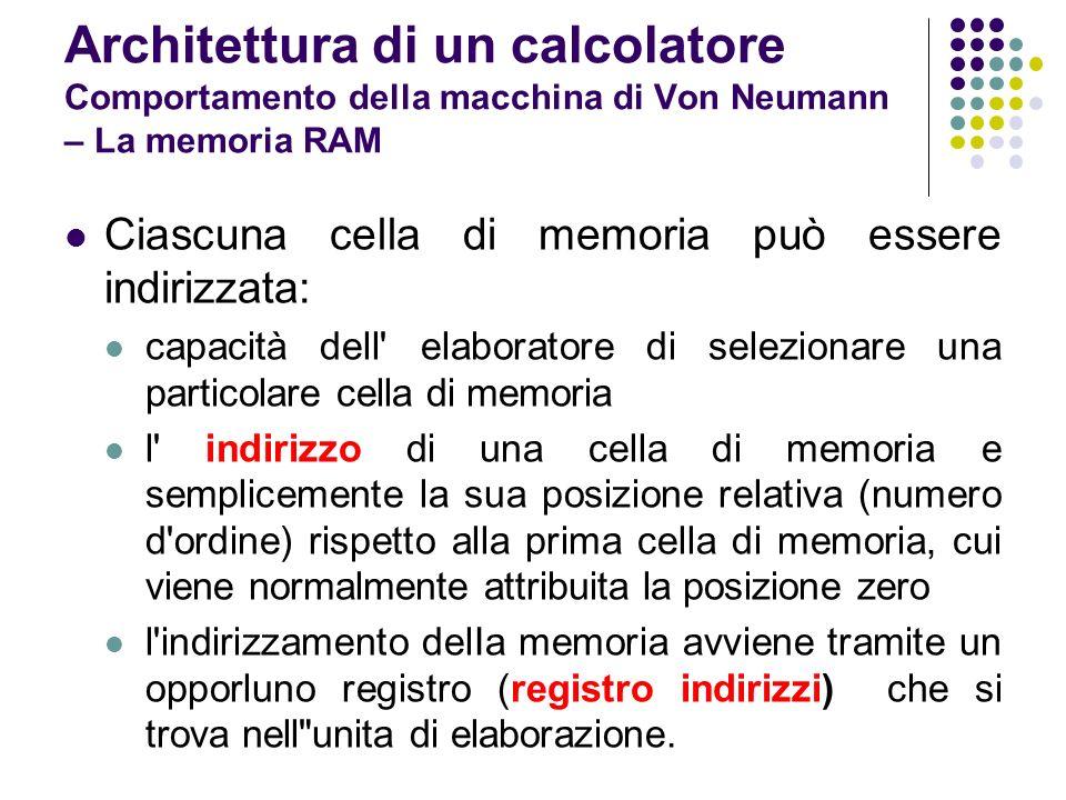 Ciascuna cella di memoria può essere indirizzata: capacità dell' elaboratore di selezionare una particolare cella di memoria l' indirizzo di una cella