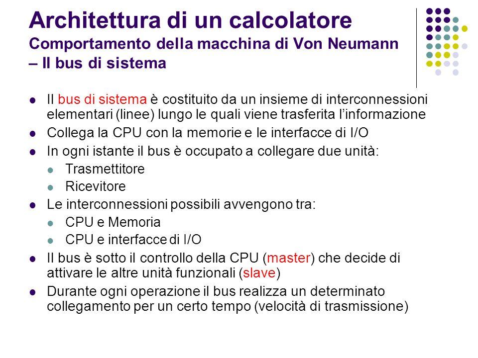 Architettura di un calcolatore Comportamento della macchina di Von Neumann – Il bus di sistema Il bus di sistema è costituito da un insieme di interco