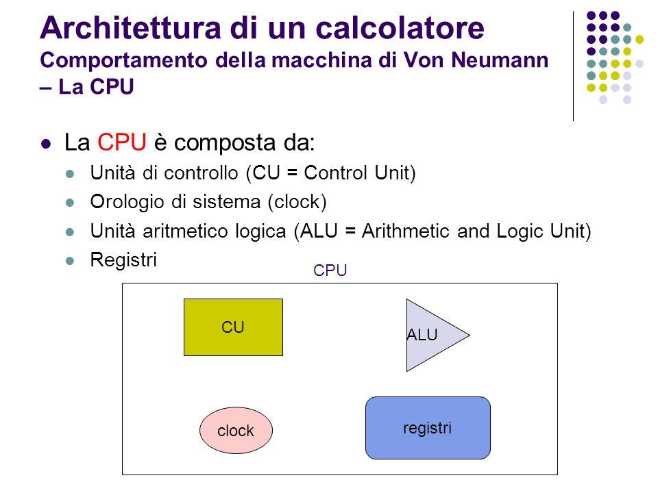 Architettura di un calcolatore Comportamento della macchina di Von Neumann – La CPU La CPU è composta da: Unità di controllo (CU = Control Unit) Orolo