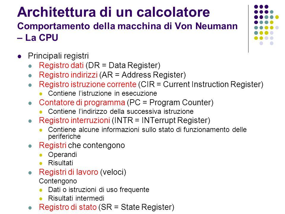 Architettura di un calcolatore Comportamento della macchina di Von Neumann – La CPU Principali registri Registro dati (DR = Data Register) Registro in