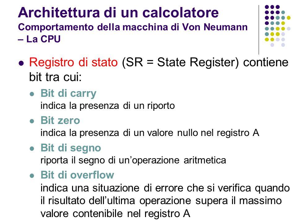 Architettura di un calcolatore Comportamento della macchina di Von Neumann – La CPU Registro di stato (SR = State Register) contiene bit tra cui: Bit