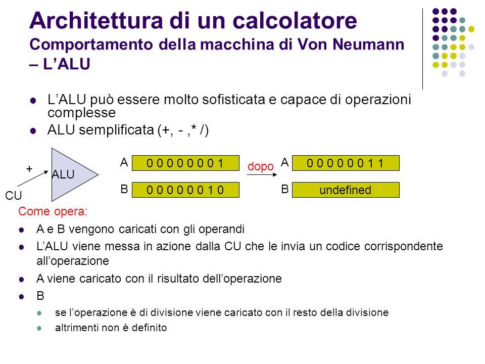 Architettura di un calcolatore Comportamento della macchina di Von Neumann – LALU LALU può essere molto sofisticata e capace di operazioni complesse A